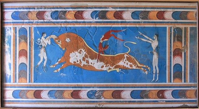 A fresco in Knossos, Crete, depicting bull leaping (photo by Lapplaender)
