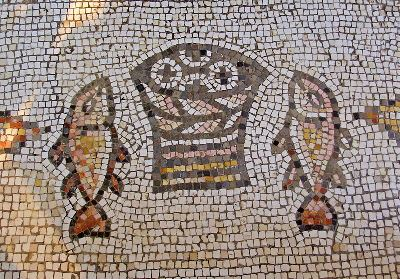 Mosaic in the Church of the Multiplication of Loaves and Fish at Tabgha near the Sea of Galilee, Israel