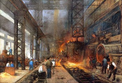 The casting of iron in blocks by the Dutch painter Heyenbrock (1890)