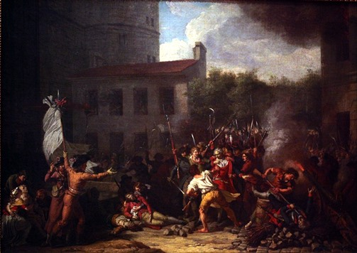 The arrest of the governor of the Bastille during the French Revolution (Charles Thévenin 1790-1794, Lent by Musée Carnavalet)