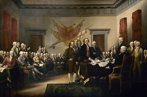 The American Declaration of Independence presented to the Congress (by John Trumbull, 1819)