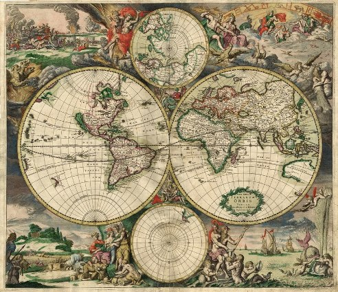 A 1689 world map from Amsterdam.