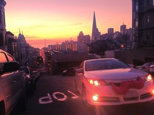 Lyft's pink car mustache (photo by Pkg203). Lyft is one of the many car sharing program in existence throughout the world.