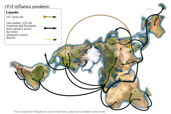 Spread of the 1918 flu pandemic (image by Yug).
