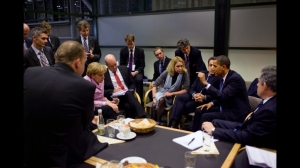 President Barack Obama briefs European leaders following a multilateral meeting at the United Nations Climate Change Conference in Copenhagen, Denmark, 2009