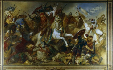 """Barbarossa's victory at Iconium"" by Hermann Wislicenus. The battle took place in 1190."