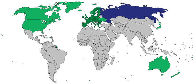 Countries that have introduced sanctions against Russian or Ukrainian citizens or corporations or Russia as whole as a result of its actions against Ukraine.